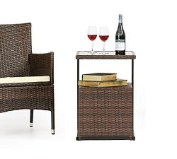 OUTROAD Outdoor Furniture C-Shaped Sofa Side Table – All Weather Wicker End Table W/ Porta ...