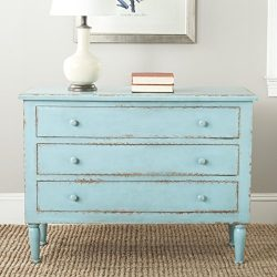 Safavieh American Homes Collection Tablet Distressed 3 Drawer Chest, Distressed Blue