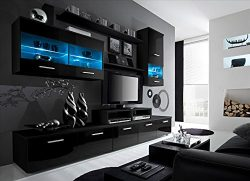 Paris Contemporary Design 74.8×98.4×17.7-Inch Wall Unit with LED, Black