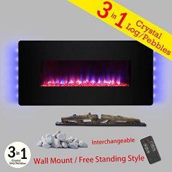 Golden Vantage 48″ Black Tempered Glass Finish Wall Mount Freestanding Convertible 22 Sett ...
