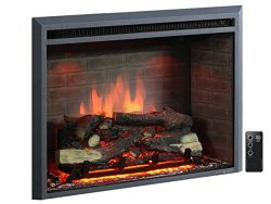 PuraFlame 33″ Western Electric Fireplace Insert with Remote Control, 750/1500W, Black