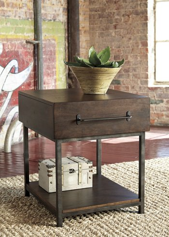 Ashley Furniture Signature Design – Starmore Rectangular End Table – Rustic Contempo ...