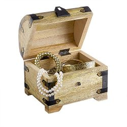 Jewelry Storage Box with Clasp – Treasure Chest – Vintage Chest – Light Wood & ...