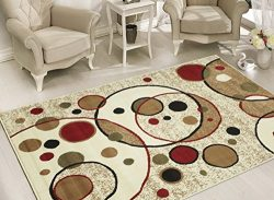 Sweet Home Stores Clifton Collection Modern Circles Design Area Rug 5'x7′, Beige