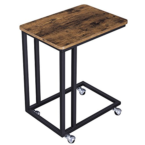 SONGMICS Mobile Snack Side End Table for Coffee Laptop Tablet Slides Next to Sofa Couch with Met ...