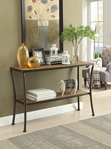 Vintage Brown Finish Metal Frame Console Sofa Table with Lower Shelf
