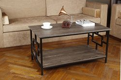 GIA Rectangular Coffee Table with Lower Storage Shelf – Gray Ash Color – Black Frame ...