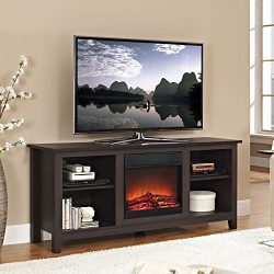 Walker Edison W58FP18ES Fireplace TV Stand , Espresso, 58″