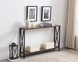 Reclaimed Weathered Oak / Black Metal Frame 2-tier Entryway Console Sofa Table with X-Design Sides