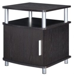 Altra Carson End Table with Storage, Espresso/Silver