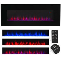 XtremepowerUS Allure Linear Wall Mount Smokeless Electric Fireplace, 50-inch Wide w/ 3 Changeabl ...
