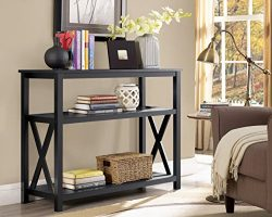 Black 2-Tier Occasional Console Sofa Table Bookshelf