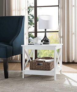 White Finish Wooden Square Chair Side End Table with Shelf