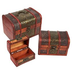 3 Piece Wooden Treasure Box – Keepsake Box – Treasure Chest with Flower Motif for Je ...