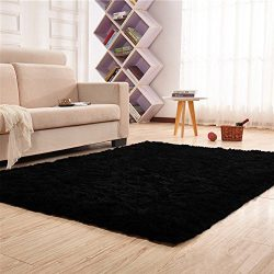 PAGISOFE Soft Kids Rug Nursery Decor Bedroom Living Room Carpet 4′ x 5.3′,Black