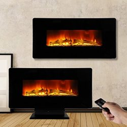 ROVSUN 36″ Electric Fireplace 1400W,2 in 1 Logs Wall Mounted or Freestanding Adjustable He ...