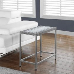 Slim Console Table,Small Accent, Grey/ Blue Tile Top, And Hammered Silvertone Metal