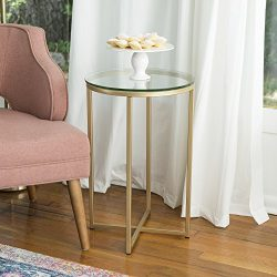 WE Furniture 16″ Round Side Table – Glass/Gold
