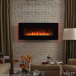 Clevr 750-1500W 39″ Adjustable Electric Wall Mount Fireplace Heater, Adjustable Front Colo ...