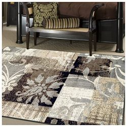 Superior Pastiche Collection Area Rug, 8mm Pile Height with Jute Backing, Chic Geometric Floral  ...