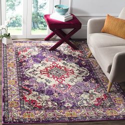Safavieh Monaco Collection MNC243P Vintage Bohemian Violet and Fuchsia Distressed Area Rug (8&#8 ...