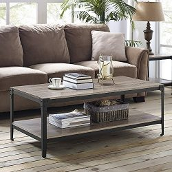 WE Furniture Angle Iron Wood Coffee Table in Driftwood – 46″