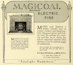 1927 Ad Magicoal Fake Electric Fireplace H. A. Bame Household Home Appliance – Original Pr ...