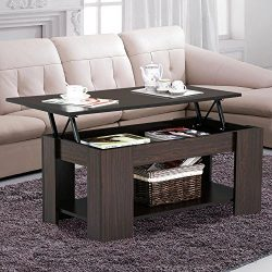 Yaheetech Grade E1 MDF & Iron Lift-up Top Coffee Table w/Hidden Storage Compartment & Sh ...