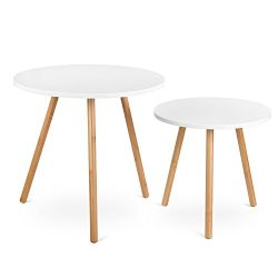 HOMFA Nesting Coffee End Tables Modern Furniture Decor Round Side Table for Living Room Balcony  ...