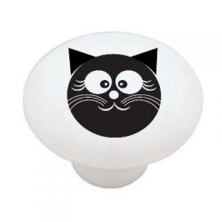 Happy Black Cat High Gloss Ceramic Drawer Knob