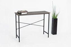 Vintage Brown / Black Metal Frame Contemporary Console Sofa Table Desk