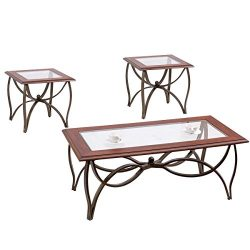 Tangkula Glass Coffee Table Set Occasional Cocktail Table Set Glass Top Coffee Table & 2 End ...