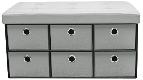 Sorbus Storage Ottoman Bench With Drawers Collapsible