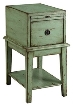 Treasure Trove Accents Chairside Chest, Weathered and Distressed Green Finish