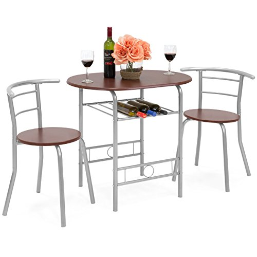 Best Choice Products 3-Piece Wooden Kitchen Dining Room Round Table and Chairs Set w/ Built In W ...