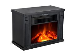 3G Plus 14″ Mini Electric Fireplace Portable Heater Log Fuel Effect, 1000 Watt-Black