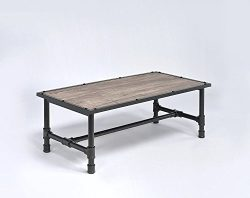 Major-Q Industrial Style Coffee Table For Living Room, Rectangular, Wood Rustic and Oak Finish,  ...