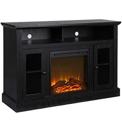 Ameriwood Home Chicago Fireplace TV Stand for TVs up to 50″, Black