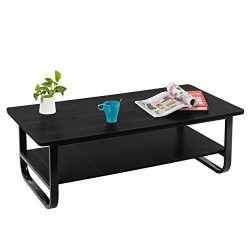Coffee Table, Pexfix Modern Solid Wooden Tea Table Simple Design Rustic Black Living Room Coffee ...