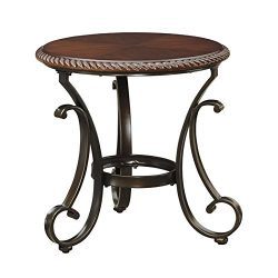Ashley Furniture Signature Design – Gambrey Round End Table – Traditional Cherry Tab ...