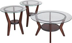 Contemporary 3 Piece Occasional Glass Round Top Living Room Table Set with Dark Brown Finish