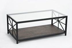 Vintage Dark Brown Glass Top Black Metal Frame Cocktail Coffee Table with Lower Shelf