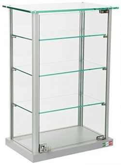Small Curio Cabinet, Free Standing Glass Display Shelf, Adjustable, Aluminum (Silver Base)