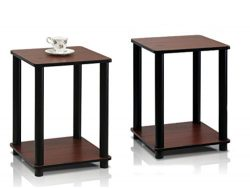 Furinno 99800R-LC/BK Turn-N-Tube End Table, Simplistic End Table, Light Cherry/Black – Set ...