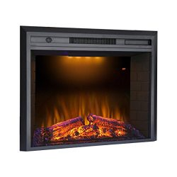 Valuxhome Houselux 36″ 750W/1500W, Electric Fireplace Insert with Log Speaker, Remote Cont ...