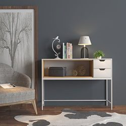 White / Natural Finish Sofa Console Buffet Sideboard Display Table with 2 Drawers