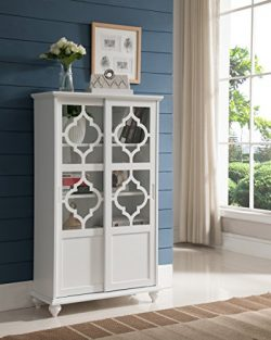 Kings Brand Furniture Curio Bookcase Cabinet with Glass Doors (White)