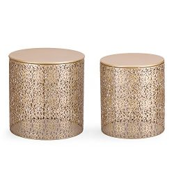 Joveco Metal Iron Grid Nesting Round Side End Table Fashion Golden Living-room Bedroom, Set of 2 ¡­