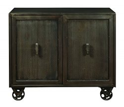 Pulaski DS-P006005 Industrial Metal 2 Door Accent Chest with Trolley Wheels, 42″ x 16̸ ...
