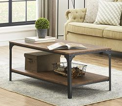 O&K Furniture Industrial Rectangular Coffee Table with Storage Bottom Shelf, Barn-wood